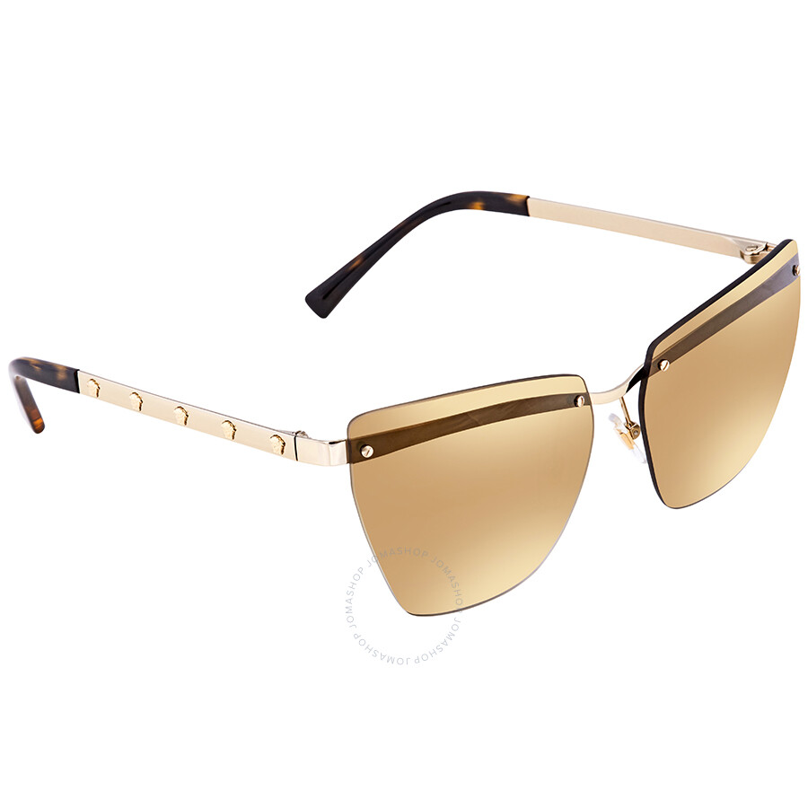 cf609de176 Versace Gradient Light Brown Mirror Gold Cat Eye Ladies Sunglasses VE2190  12526E 58 ...