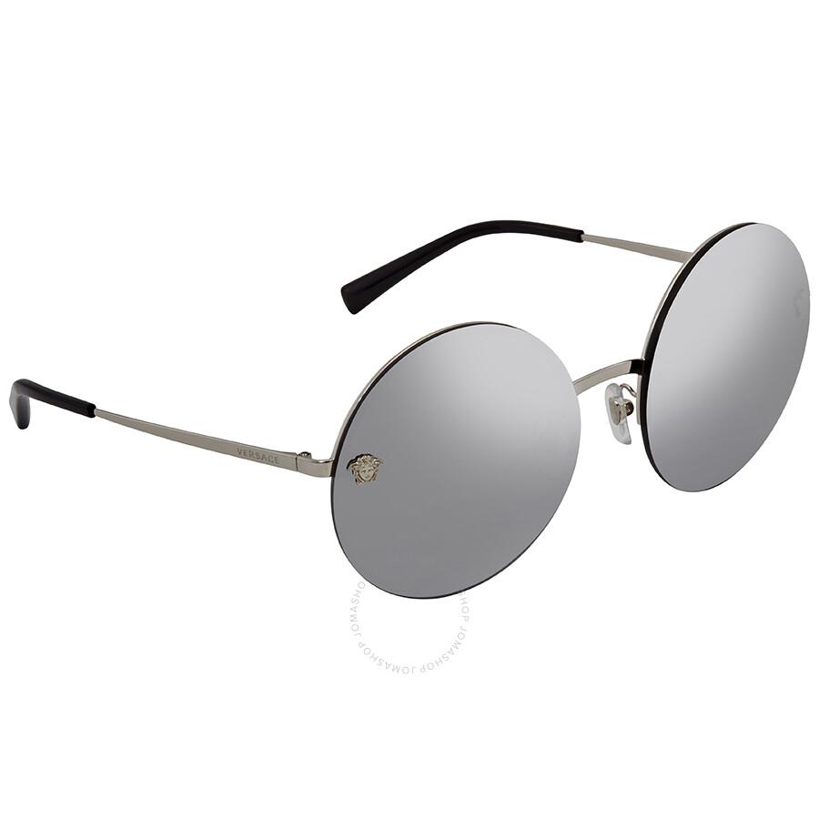 d57d0dd7de Versace Grey Mirror Silver Round Sunglasses VE2176 10006G 59 ...
