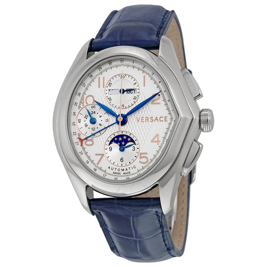 versace watches jomashop versace master swiss automatic moonphase white dial blue leather men s watch