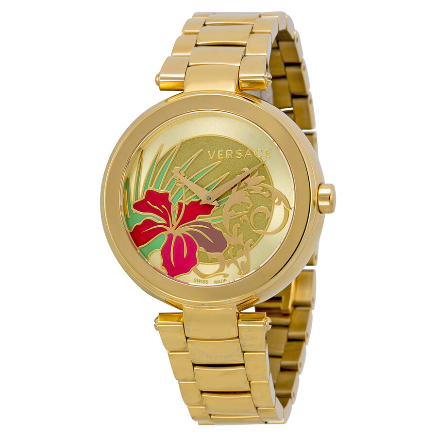 357f104a5e Versace Mystique Hibiscus Flower Dial Rose Gold PVD Steel Ladies Watch  19Q80D2HI-S080