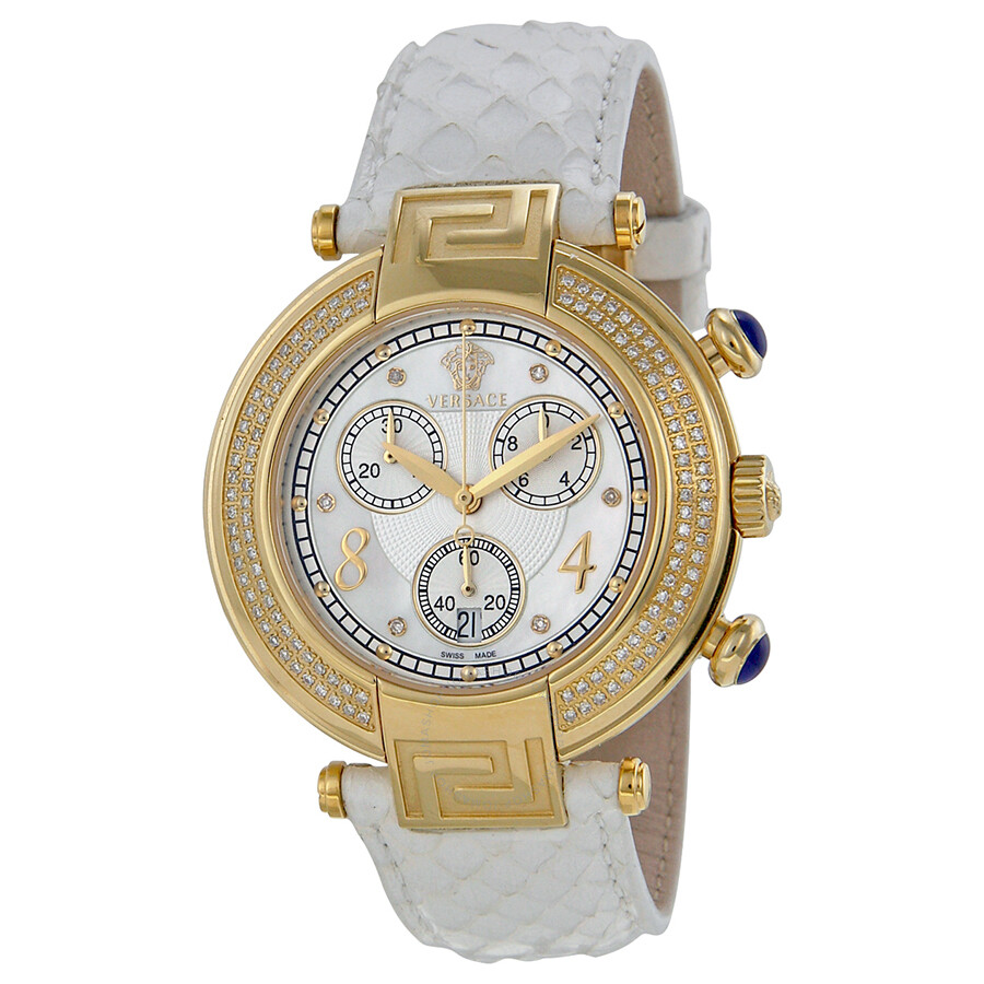 ff3ecdf9 Versace New Reve Mother of Pearl White Leather Ladies Watch  VER-68C71SD498-S001