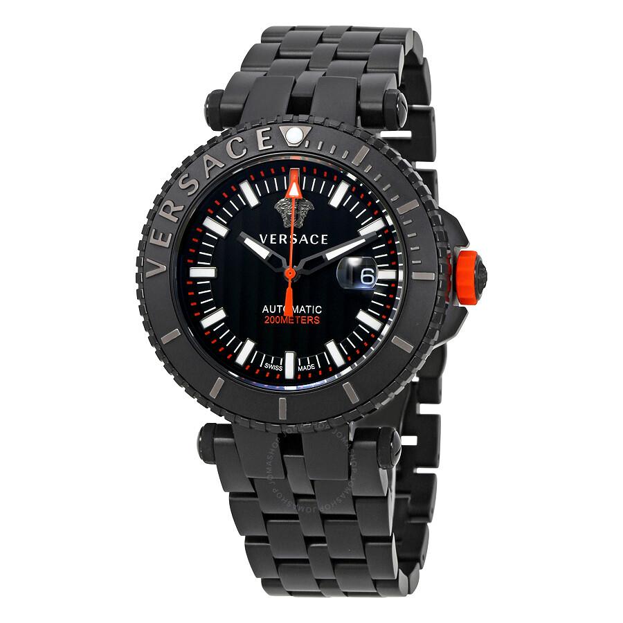 versace v race diver automatic black dial men s watch val01 0016
