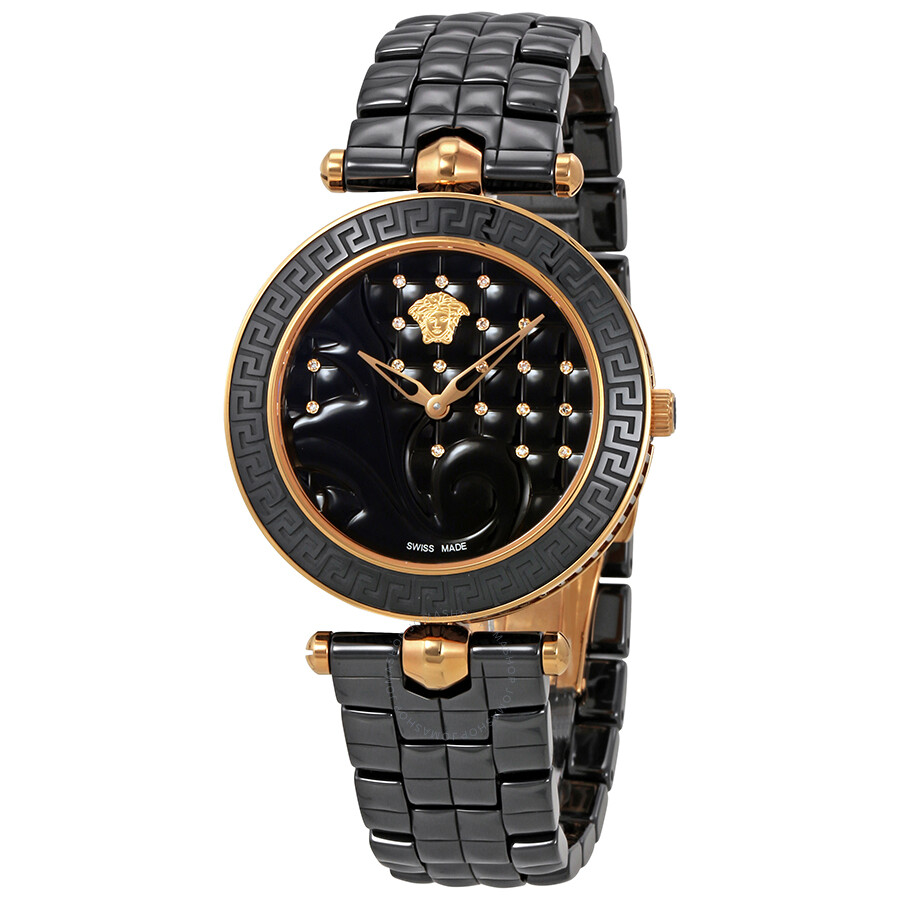 Versace vanitas black diamond dial ceramic ladies watch vao050016 vanitas versace watches for Diamond dial watch
