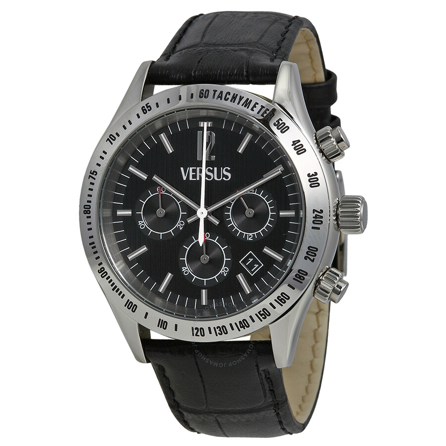 versus by versace cosmopolitan watches jomashop versus by versace versus by versace cosmopolitan chronograph black dial black leather men s watch