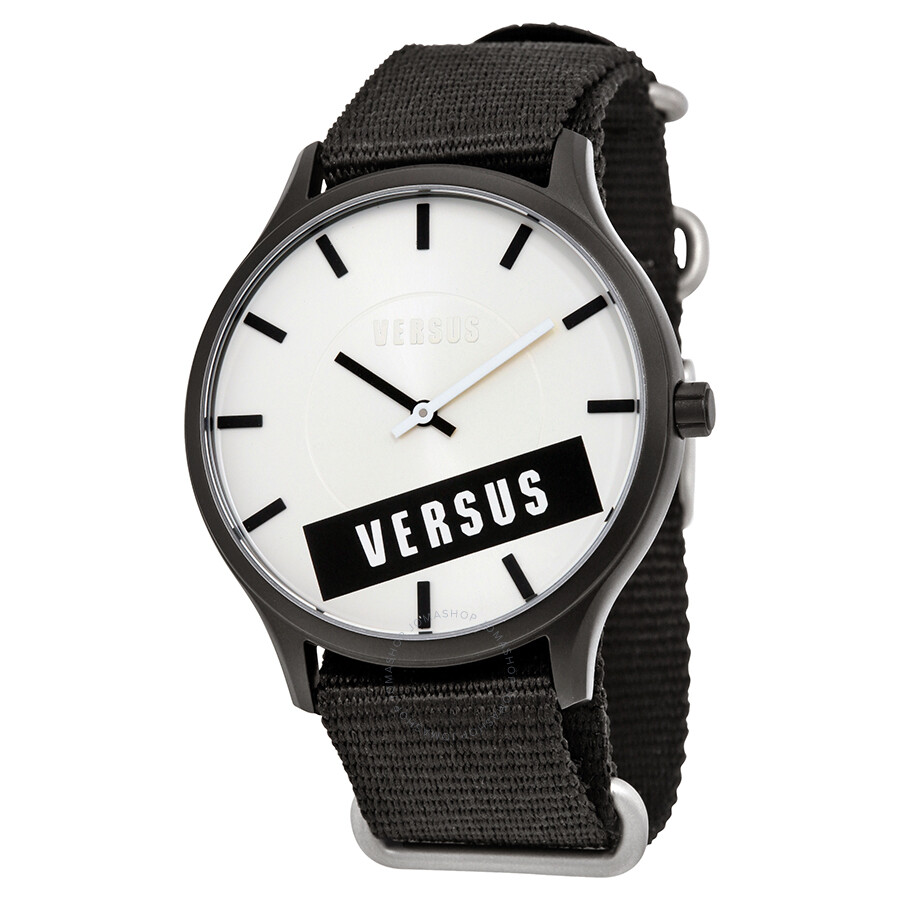 Versus by Versace Less White Dial Black Canvas Men s Watch SO6090014 ... 3778fd2aa3fc8