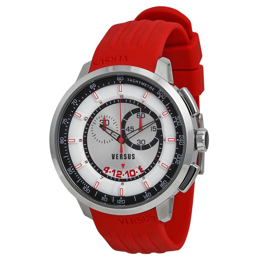 versus by versace watches jomashop versus by versace manhattan chronograph white and black dial red rubber men s watch