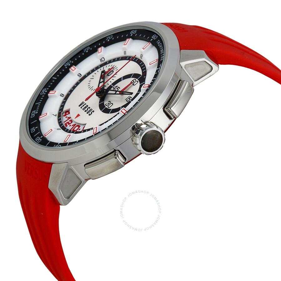 versus by versace manhattan chronograph white and black dial red versus by versace manhattan chronograph white and black dial red rubber men s watch sgv070014