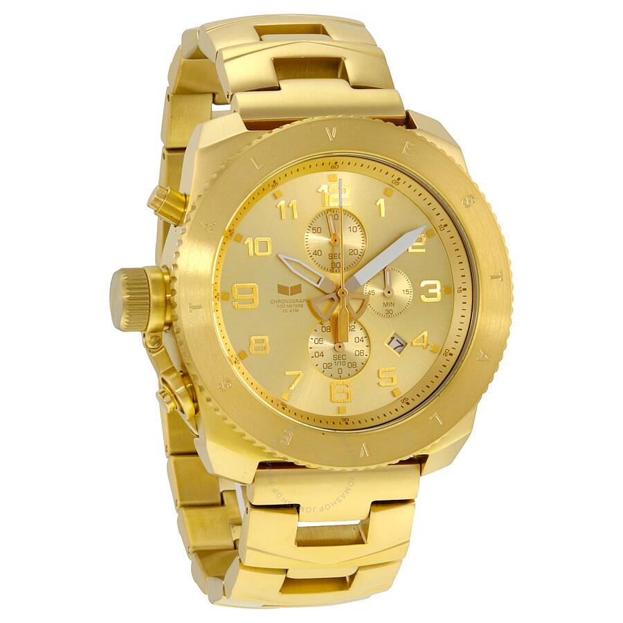 vestal restrictor chronograph champagne dial goldtone menu0027s watch