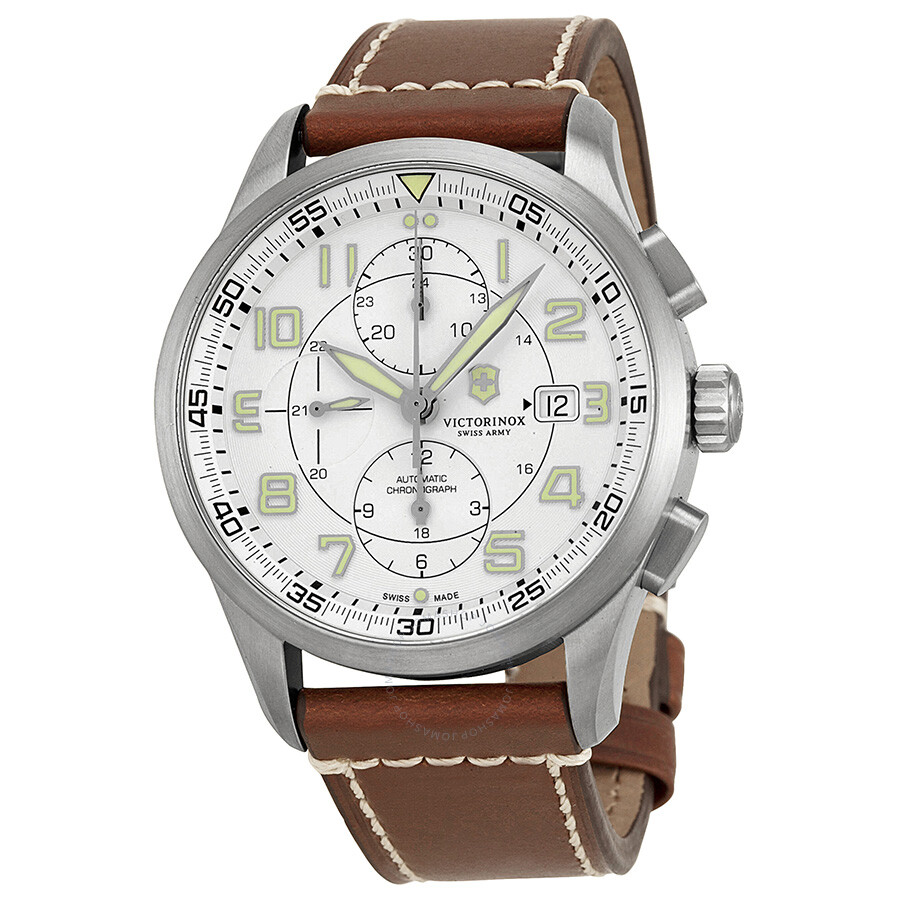 Victorinox airboss white dial brown leather men 39 s watch 241598 victorinox watches jomashop for Victorinox watches