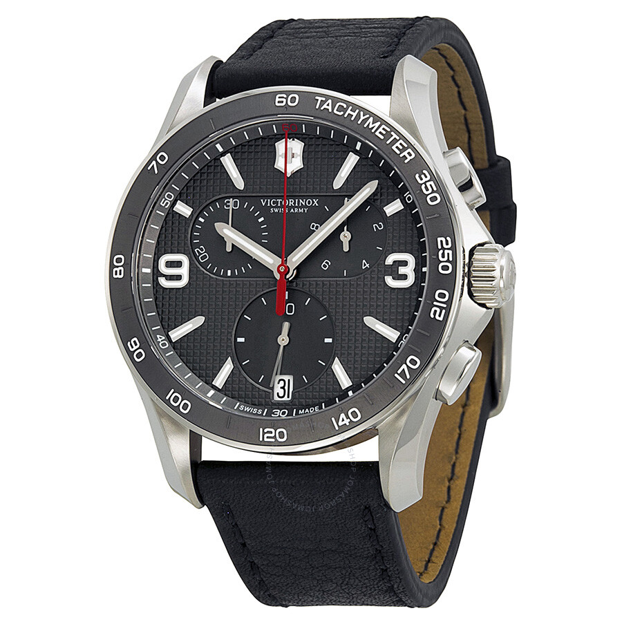 Victorinox chrono classic slate grey dial black leather strap men 39 s watch 241657 chrono for Victorinox watches