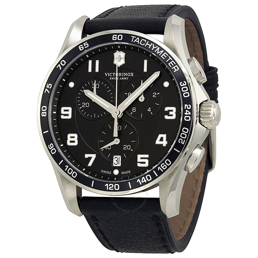 Victorinox chrono classic xls black dial black leather strap men 39 s watch 241651 chrono classic for Victorinox watches