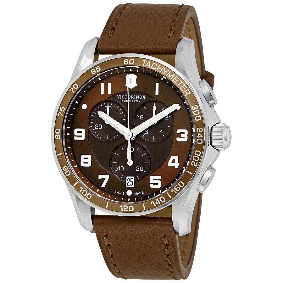 Victorinox chrono classic xls brown dial brown leather men 39 s watch 241653 chrono classic for Victorinox watches