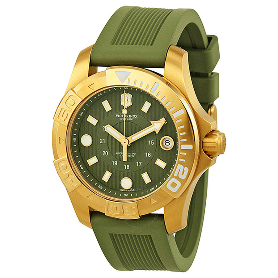 64e989d2a00b0 Victorinox Dive Master 500 Green Dial Green Rubber Ladies Watch 241557.1