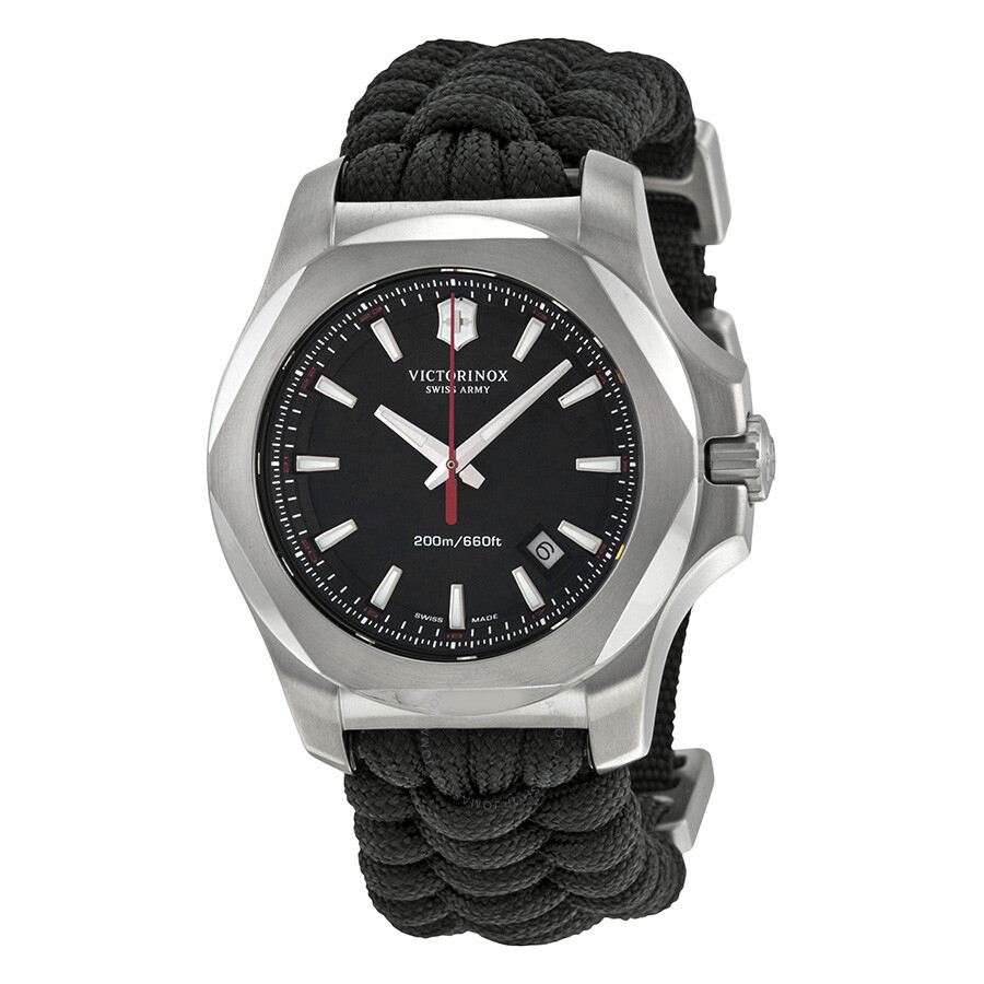 Victorinox i n o x black dial men 39 s watch 241726 1 inox victorinox watches jomashop for Victorinox watches