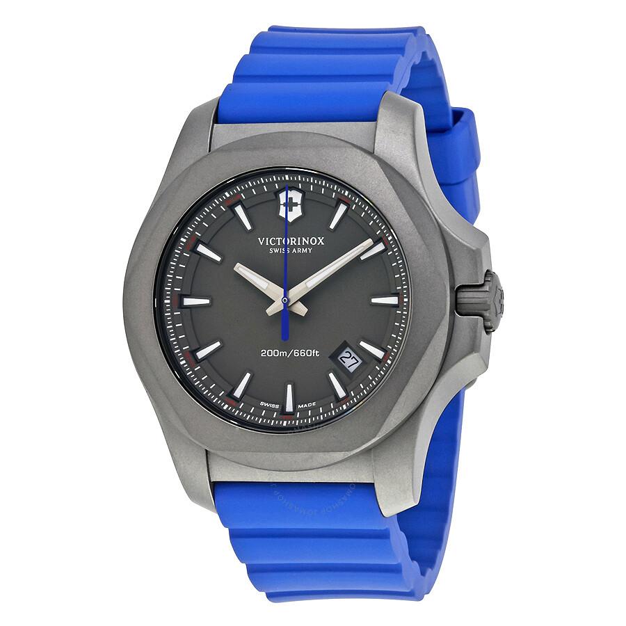 Victorinox i n o x grey dial men 39 s blue rubber watch 241759 inox victorinox watches for Rubber watches
