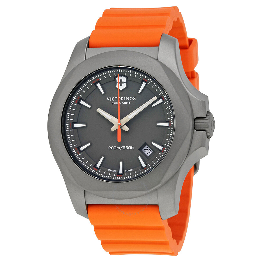 Victorinox i n o x grey dial men 39 s orange rubber men 39 s watch 241758 inox victorinox for Victorinox watches