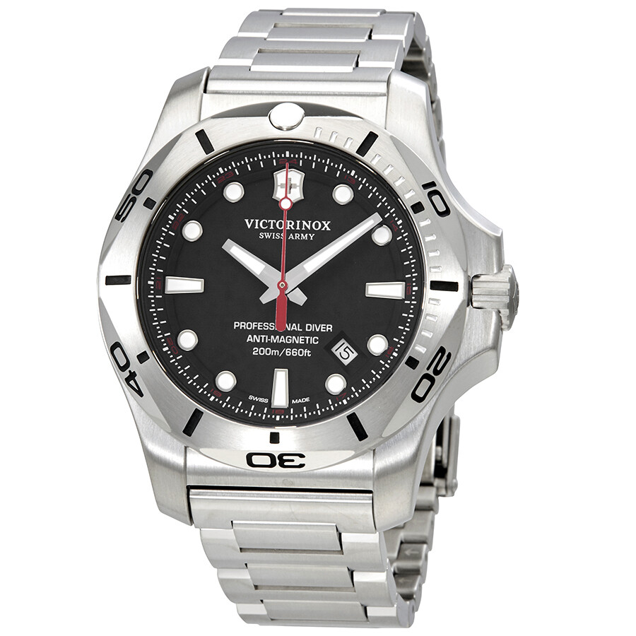 Victorinox i n o x professional diver black dial men 39 s steel watch 241781 inox victorinox for Victorinox watches