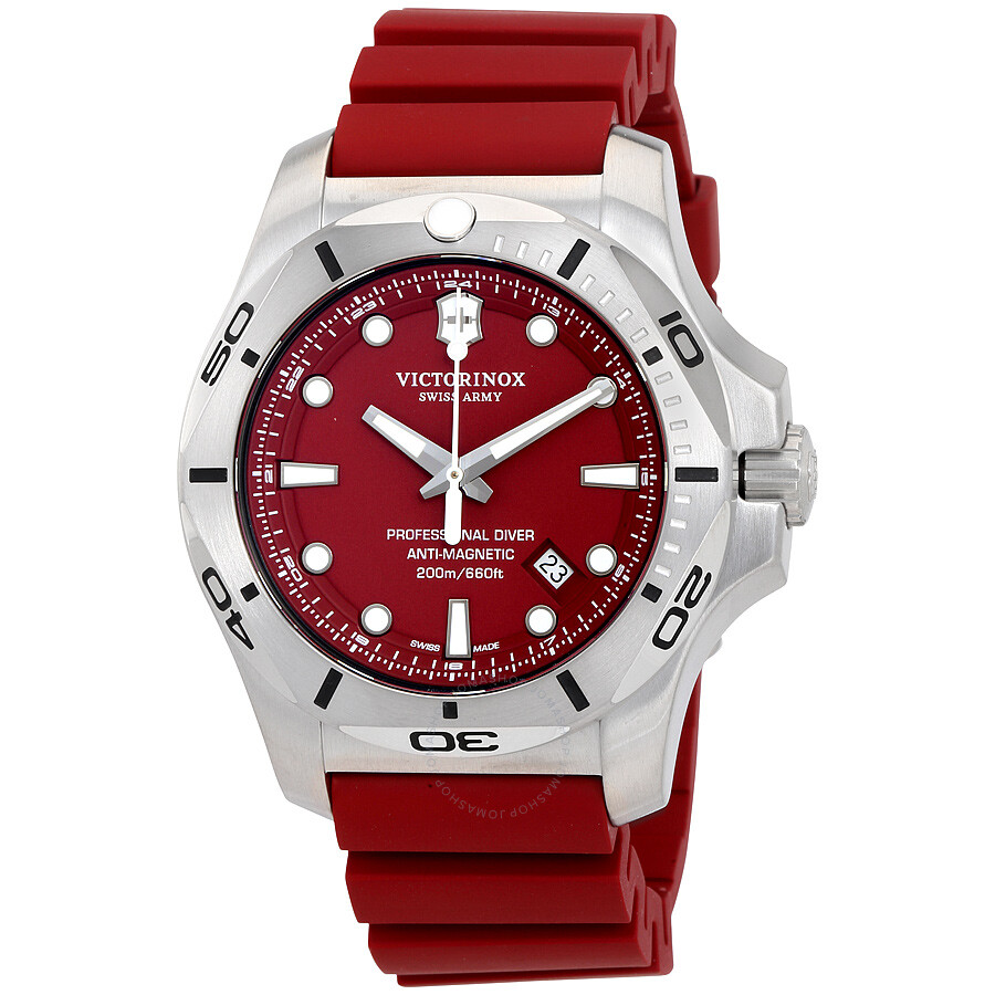 victorinox i n o x professional diver red dial rubber men 39 s watch 241736 inox victorinox
