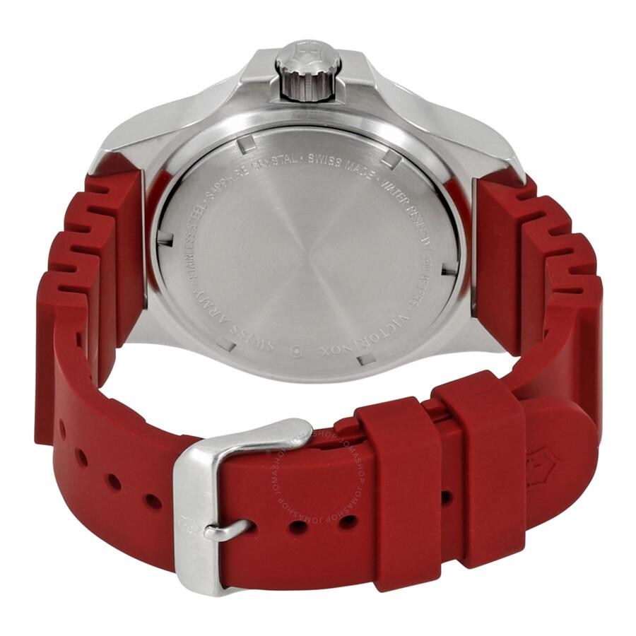 victorinox inox diver red dial rubber menu0027s watch