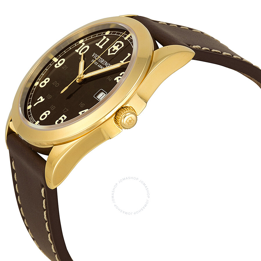 victorinox infantry brown dial brown leather strap mens