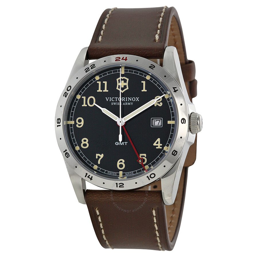420e9583aeb Victorinox Infantry GMT Black Dial Brown Leather Strap Men s Watch Item No.  241648