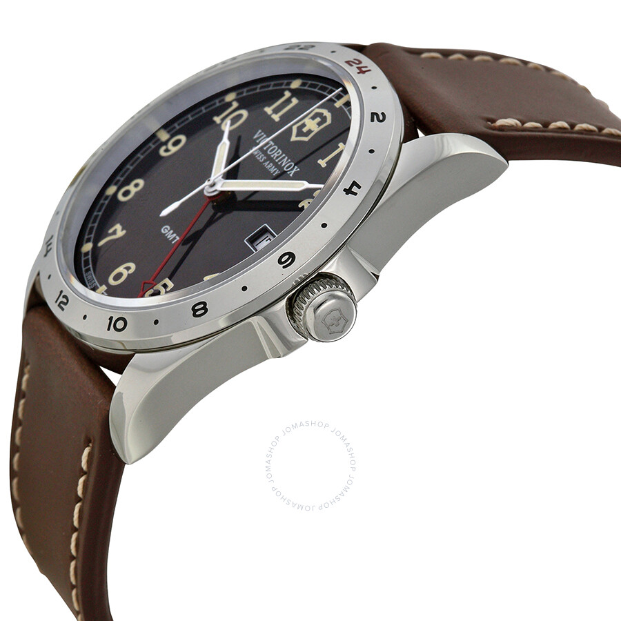 69e96bd1c1c ... Victorinox Infantry GMT Black Dial Brown Leather Strap Men s Watch  241648 ...
