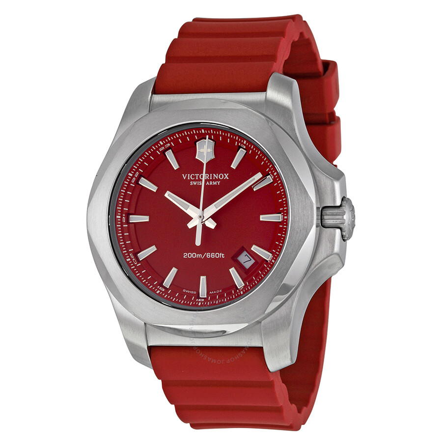 victorinox swiss army i n o x red dial men 39 s watch 241719 1 inox victorinox watches jomashop