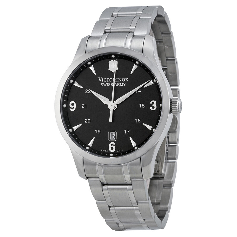 Victorinox swiss army alliance black dial stainless steel men 39 s watch 241473 alliance for Victorinox watches