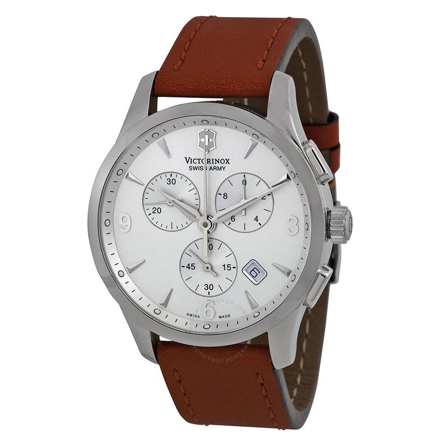 aed26fcc3dab8 Victorinox Swiss Army Alliance Chronograph Brown Strap Men's Watch 241480  ...