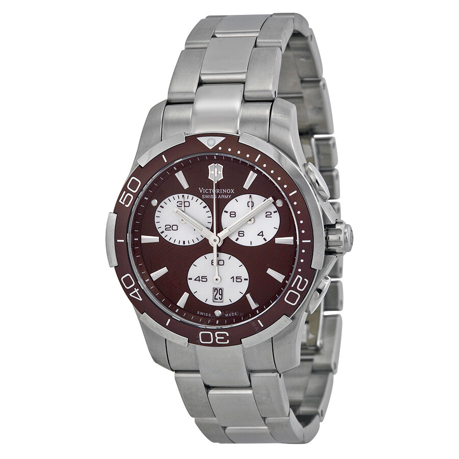 ddfb3d45a0 Victorinox Swiss Army Alliance Sport Chronograph Brown Dial Stainless Steel  Ladies Watch 241502 ...