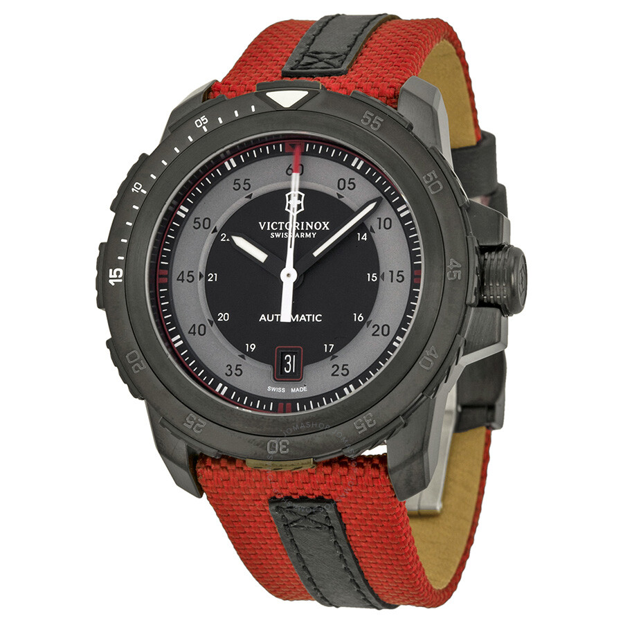 Victorinox swiss army alpnach mechanical automatic grey and silver dial red nylon men 39 s watch for Victorinox watches