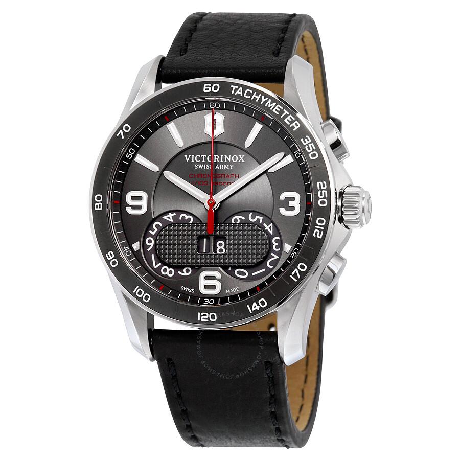 victorinox swiss army chrono classic dark grey dial black leather victorinox swiss army chrono classic dark grey dial black leather men s watch 241616