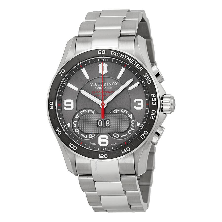 victorinox swiss army chrono classic dark grey dial stainless victorinox swiss army chrono classic dark grey dial stainless steel men s watch 241618