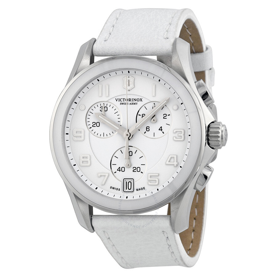 victorinox swiss army classic chronograph white dial white. Black Bedroom Furniture Sets. Home Design Ideas