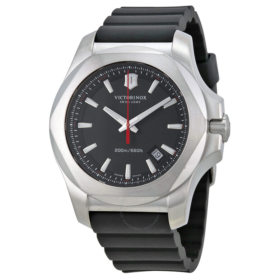 Victorinox swiss army inox black dial black rubber men 39 s watch 241682 1 inox victorinox for Victorinox watches