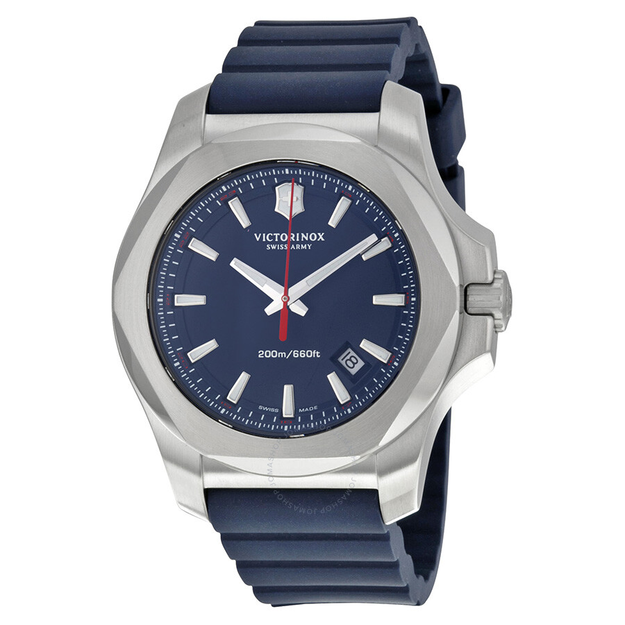 Victorinox swiss army inox blue dial blue rubber men 39 s watch 241688 1 inox victorinox for Victorinox watches