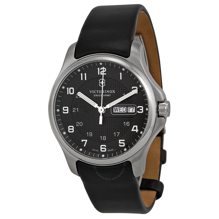 Victorinox swiss army leather officers grey dial men 39 s watch 241549 1 officer victorinox for Victorinox watches