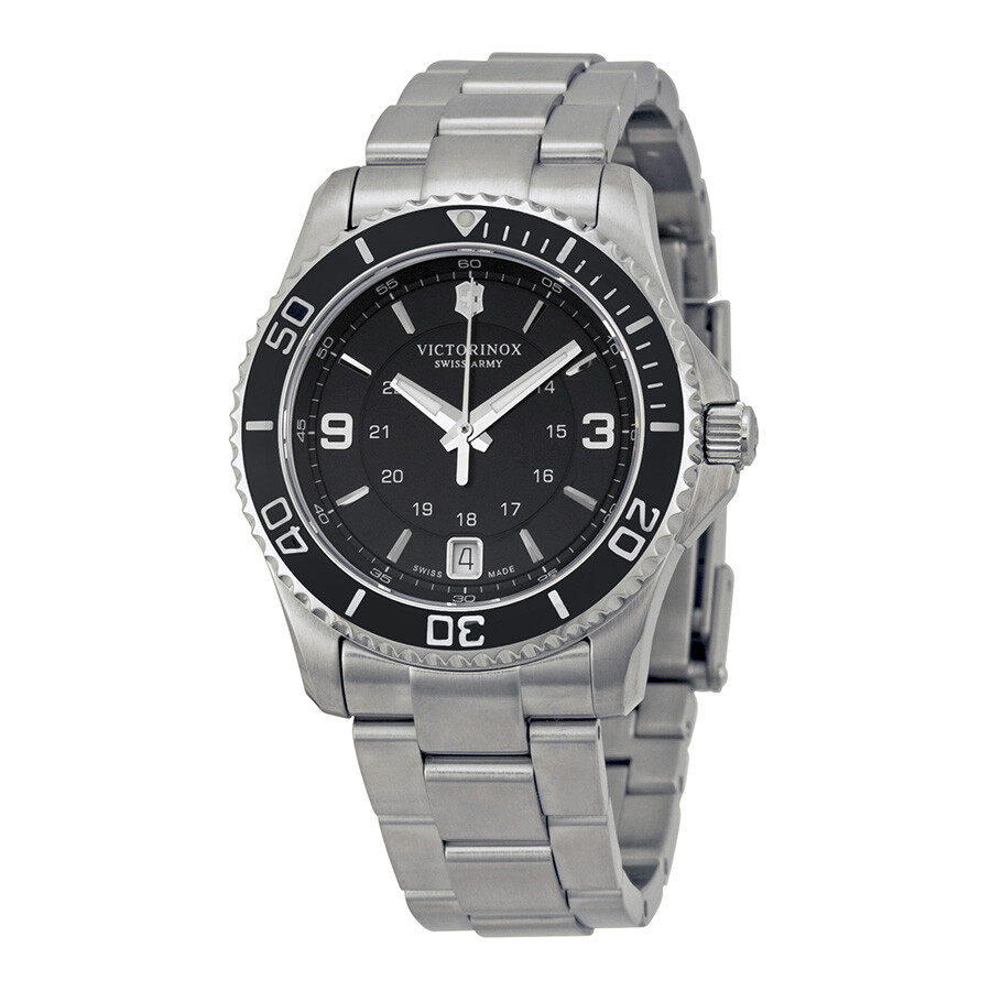 Victorinox swiss army maverick black dial stainless steel ladies watch 241701 maverick for Victorinox watches