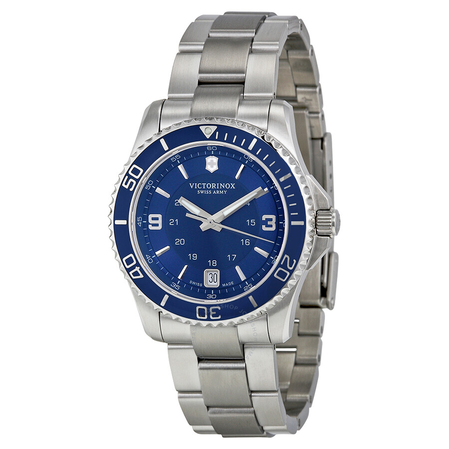 Victorinox swiss army maverick blue dial stainless steel ladies watch 241609 maverick for Victorinox watches