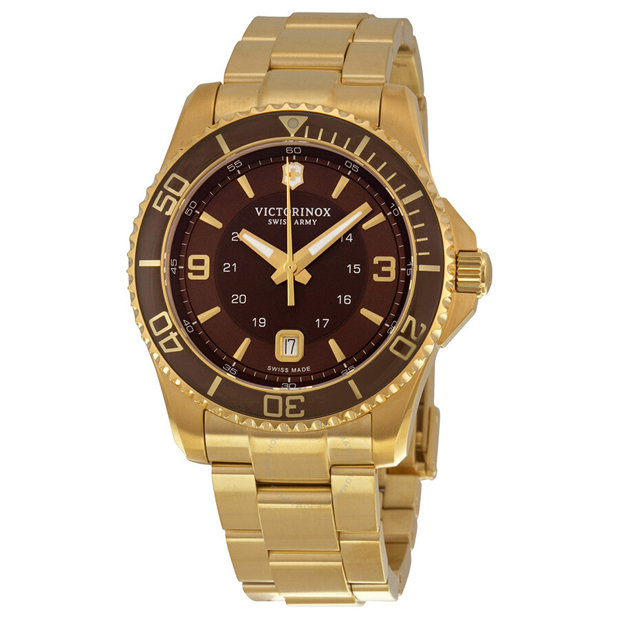 Victorinox swiss army maverick brown dial gold pvd men 39 s watch 241607 maverick victorinox for Victorinox watches