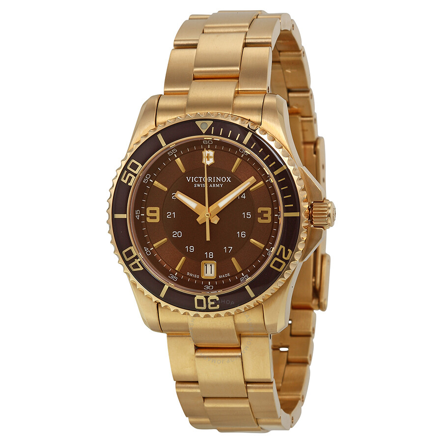 Victorinox swiss army maverick brown gold pvd ladies watch 241614 maverick victorinox for Victorinox watches