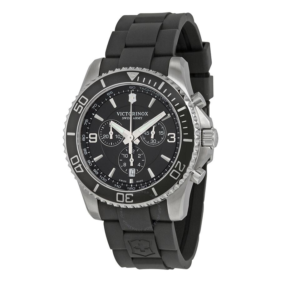 9b3912081d8 Victorinox Swiss Army Maverick Chronograph Black Dial Black Rubber Men s  Watch 241696 ...