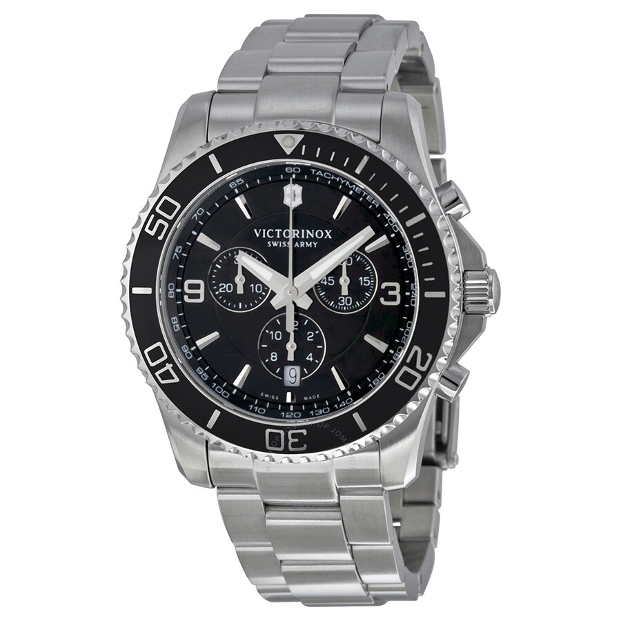 Victorinox swiss army maverick chronograph black dial stainless steel men 39 s watch 241695 for Victorinox watches