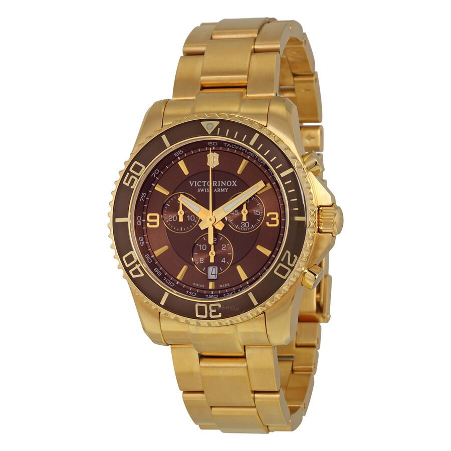 victorinox swiss army maverick chronograph brown gold