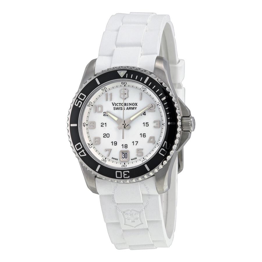 Victorinox Swiss Army Maverick GS Small White Dial GMT Ladies Watch 241491
