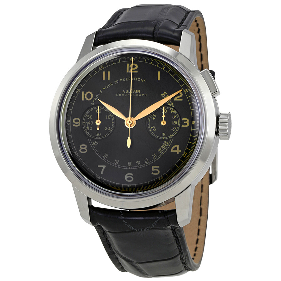 vulcain 50s presidents automatic chronograph heritage black dial black leather men 39 s watch