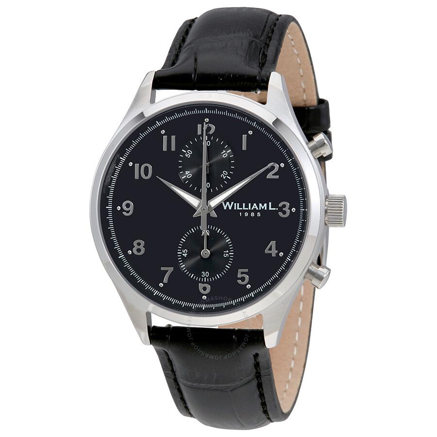 a4547e2305b William L 1985 Vintage Black Dial Men s Chronograph Leather Watch  WLAC02NRCN ...