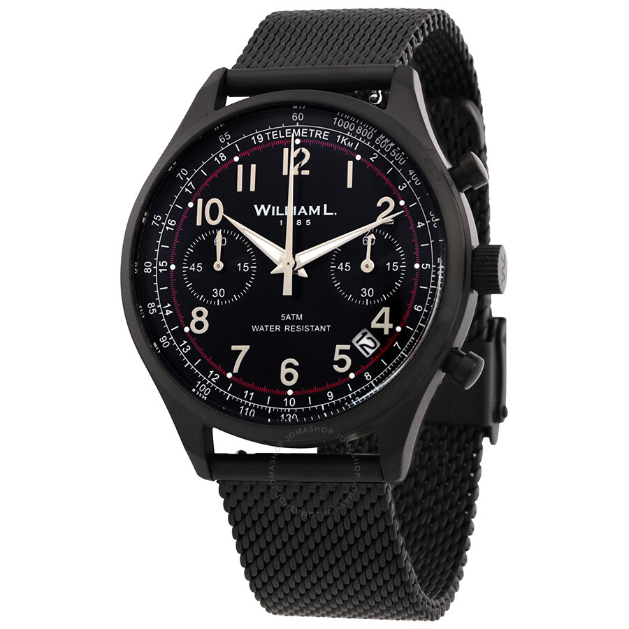 b2a6cf994 William L 1985 Vintage Chronograph Black Dial Men's Watch WLIB01NRMMN ...