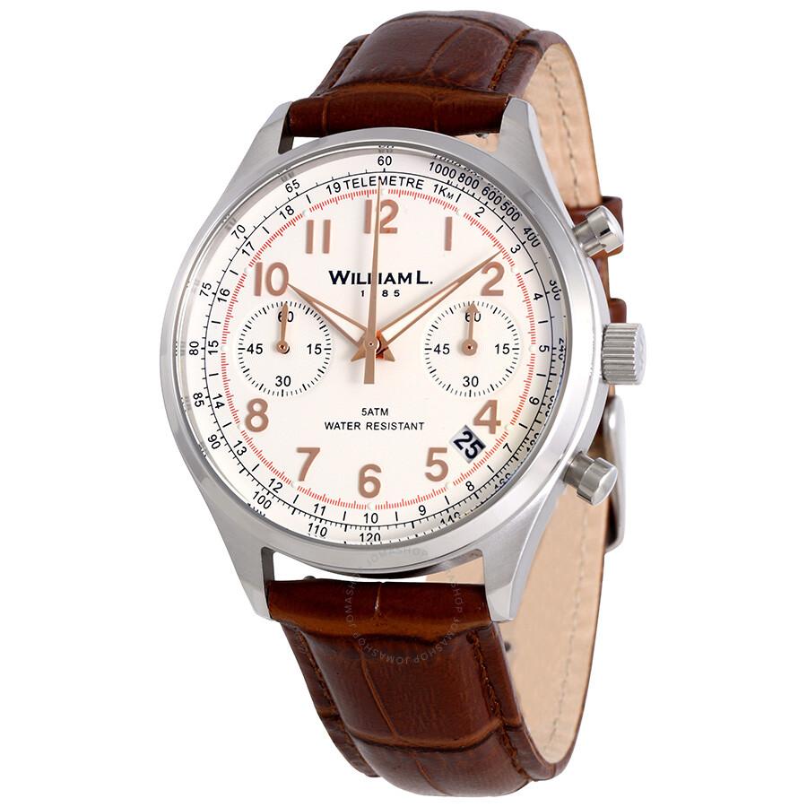 Men's William White L Chronograph 1985 Dial Watch Vintage MqpzVUS