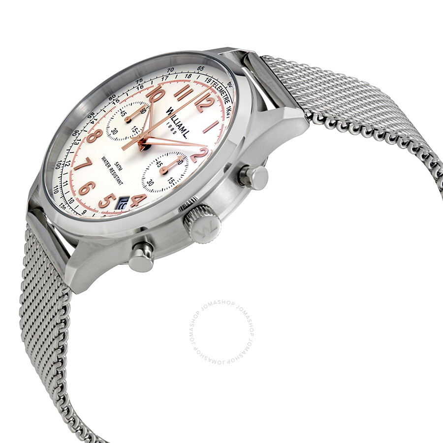 60180afec ... William L 1985 Vintage Chronograph White Dial Men's Watch WLAC01BCORMM  ...